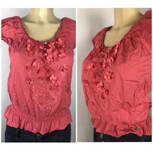 🚩Hollister Top Floral Applique 3 Button Logo Sz M